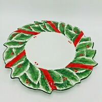 Vintage Este Ce Italy Hand Painted Holly Berry Wreath Platter Christmas Holiday