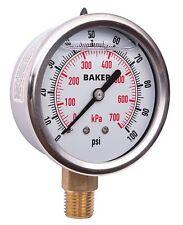 Baker AVNC-100P Pressure Gauge, 0-100 PSI / 0-700 kPa