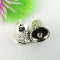 40PCS Antiqued Silver Tone Alloy Cute Bells Pendant Charms Findings 39043