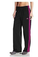 NEW ADIDAS WOMEN'S W 3 STRIPE RUNNING GYM SPORT PANTS BLACK / PINK SZ/ SMALL