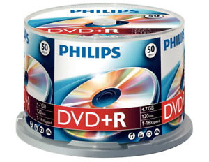 50 X Philips DVD + R Vierge Enregistrable Disques 4.7 Go Neuf HQ FR 🚚 Gratuit