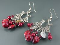 ANTIQUE SILVER EARRINGS DROP DANGLE DESIGN WITH SHELL DISCS AND RED SWIRL BEADS