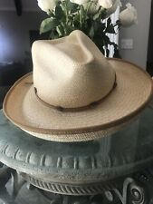 $88 Ladies NEW Tommy Bahama Straw Hat Leather Trim Sun Cowboy Panama No Reserve
