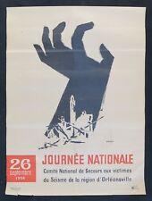 Affiche originale ALGÉRIE VICTIMES DU SÉISME D'ORLEANSVILLE AD WERNER 1954