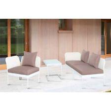Set Mobili Patio Giardino Salotto Papillon Perla in Textilene e Acciaio Bianco