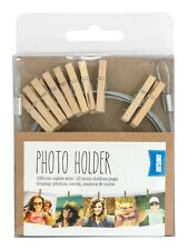 Shot2go wooden peg photo/card holder - 10 mini pegs on 150cm cable FREE P&P 8376