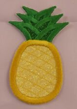 Embroider Glitter Yellow Tropical Pineapple Fruit Applique Jacket Patch Iron On