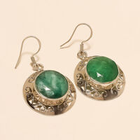 Real African Emerald Filigree Earrings 925 Sterling Silver Vintage Fine Jewelry