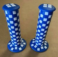 NEW! ORIGINAL OLD SCHOOL BMX CHECKER STYLE GRIPS IN BLUE/WHITE.