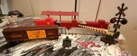 Lot Of 3 O Scale Lionel Red Caboose Cattle Car, Bridge Station Cross Guard (A327