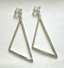 7cm LONG BRIGHT SILVERY TRIANGLES - CLIP ON EARRINGS (Hook options)