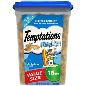 TEMPTATIONS MixUps Crunchy and Soft Cat Treats Surfers Delight 16 oz. WORLD SHIP