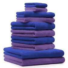 Betz Juego de 10 toallas CLASSIC 100% algodón de color morado y azul real