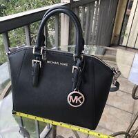 Michael Kors Women Leather Messenger Crossbody Handbag Satchel Purse Bag Black