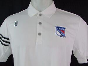 New York Rangers NHL Adidas Climacool Short Sleeve White Golf Polo Shirt