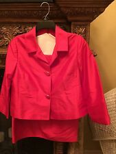 Magaschoni  Designer Suit Classic Orange Red Silk And Lined Size 8 Haute Couture