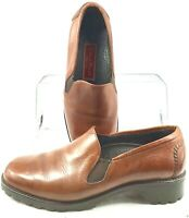 Cole Haan Country Loafer Women's 7.5 B Brown Leather Elastic Slip On Shoe Brazil