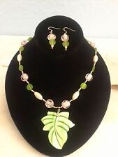 Green,Pink Glass and Simulated Cream Pearl with Green Shell Pendant necklace set