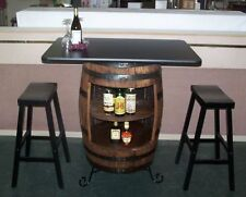 """White Oak Whiskey Barrel Bar-Table-Cabinet-Wrought Iron Stand-(2) 29"""" Bar Stools"""