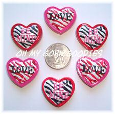 6PC VALENTINE PINK RED ZEBRA HEART FLATBACK RESINS 4 HAIRBOW BOW CENTER