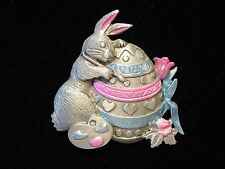 """Jj"" Jonette Jewelry Silver Pewter 'Rabbit Decorating Easter Egg' Pin"
