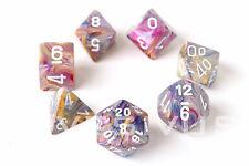 DICE Chessex FESTIVE CAROUSEL Set d20 Pink/Purple Marble Game D&D RPG Fun 27440