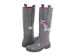 DKNY NIAGRA ICONIC FUN PRINT LOGO TALL RUBBER RAIN BOOTS 6 7 8 10 I LOVE SHOES