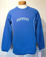 NWT Majestic Milwaukee Brewers ThermaBase Mens Tech Fleece Sweatshirt S Blue $70
