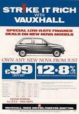 Vauxhall Nova Astra Belmont Low Rate Finance Offer 1988 UK Leaflet Brochure