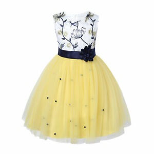 Flower Girl Dress Sequins Bow Bead Mesh Wedding Birthday Christmas Party Dresses