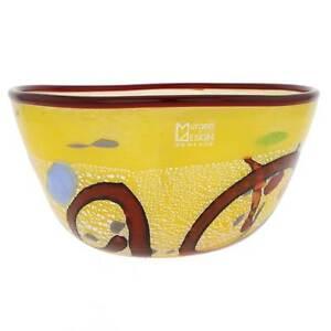 GlassOfVenice Murano Glass Modern Art Bowl - Yellow