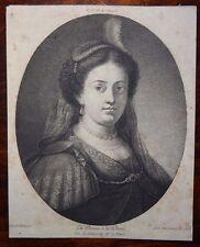 D'après Rembrant La Dame à la Plume gravée par Antoine de Marcenay 1768
