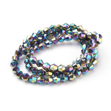 80 BULK Beads Faceted Bicone Glass Beads Blue Black Spacers Full Strand 4mm