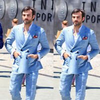 Men's Summer Linen Sport Suits Double-breasted Groom Wedding Best Man Tuxedos