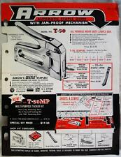 ARROW AUTOMATIC STAPLE GUNS ADVERTISING SALES BROCHURE GUIDE 1959 VINTAGE