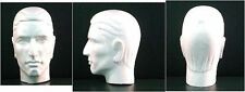 "Four (4) #6266XS 12""H Stylized MALE Mannequin HEAD Forms-White by POLLY PRODUCTS"