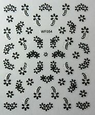 Nail art: Stickers autocollants ongles - fleurs  arabesques girly - noir