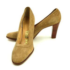 Joseph LaRose Deliso Stacked Heel Tan Suede Italian Leather Pumps Shoes VTG