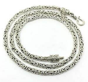 Handmade 3mm  ROUND Oxidized BYZANTINE Chain Necklace in 925 Sterling Silver