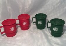 Vintage 8 Pc Stackable Christmas Cocoa Tupperware red & green mugs lids coasters