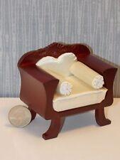 Dollhouse Miniature Fancy Mahogany Chair Cream Fabric 1:12 one inch scale    E64