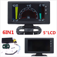 "5"" LCD Digital 6in1 Car Dash Gauge Tachometer,Volt,RPM,Water Temp,Oil Temp Meter"
