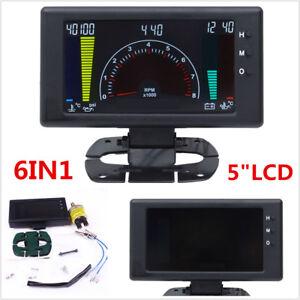 """5"""" LCD Digital 6in1 Car Dash Gauge Tachometer,Volt,RPM,Water Temp,Oil Temp Meter"""