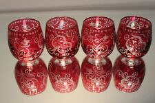 Four (4) Vintage Bohemian Egerman Ruby Red Flashed Cut Clear Etched Glass MINT