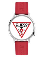 GUESS Originals Red Logo Silver Tone Stainless Steel & Rubber Watch V1003M3