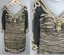 Terani Couture Beaded Cocktail Dress 6/S Black/Gold Party Wedding *1008