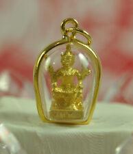 Phra Phrom HINDU GOD BRAHMA VISHNU Statue God 4 faces Gold Pendant Thai Amulet