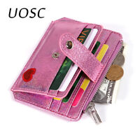 UOSC Cute Heart Women Laser Coin Purse Mini Small Clutch Card Holder Wallet Girl