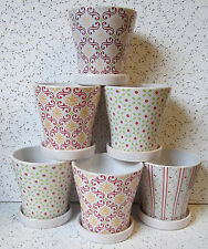"6"" SET OF 6 PLANTERS WITH SAUCERS RED WHITE YELLOW GREEN DESIGNS FLOWER POTS"