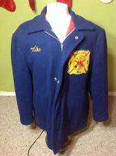 vtg Wilmerding PA Long FIRE DEPT 60s Wool Coat Men Blue Zip Rare Large